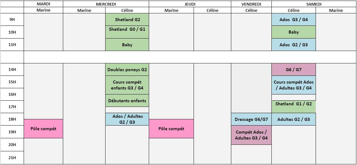Planning cours centre équestre Ecuries au Coeur de L'Isle Adam 2021/2022